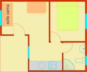 Plano bungalow 1 habitación